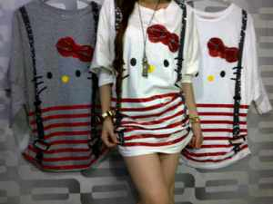 Kaos Kalong Kitty (Putih) 75.000